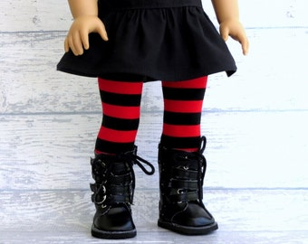 Red Black Striped Tights, fits American Girl Doll, Pirate Tights, Steampunk Stockings, Goth Girl Christmas Tights