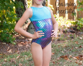 Girls Leotard, Gymnastics Leotard, Tumbling Dance Cheer Sparkly Mermaid Scales Purple Aqua Green Leotard by Charming Necessities