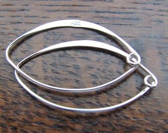 Sterling silver extended hoops/one pair/925 sterling/34mm X 20mm/19 gauge/handmade in Bali, Indonesia
