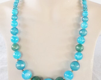 1960s Vintage Blue and Green Glass Beaded Necklace Adjustable