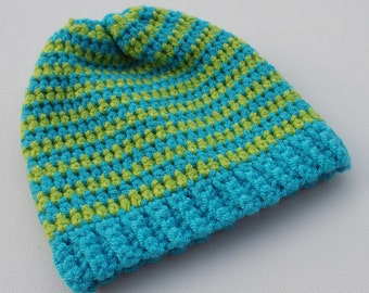 Newborn Crochet Hat, Blue and Green Beanie, Baby Hat, Infant Photo Prop, Coming Home Hat, Baby Boy Hat, Baby Gift, Ready to Ship