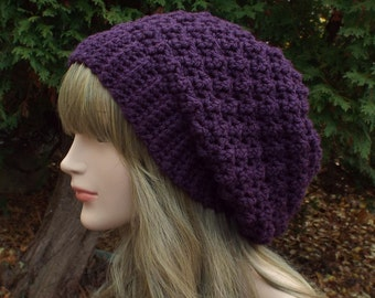 Deep Purple Crochet Hat, Womens Slouchy Beanie, Oversized Slouch Beanie, Slouchy Hat, Chunky Hat, Winter Hat, Plum Slouch Hat