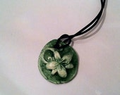 Aromatherapy Essential Oil Diffuser Jewelry Ceramic Pottery Green Raised Flower Necklace Pendant