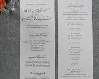 Vintage Program, Glam Wedding, Vintage Glam, Black and White Wedding Program - Traditional, Formal Wedding - Elnaz and Andrew