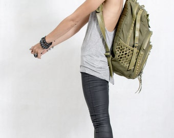 UTILITARIAN Convertible Green Canvas Backpack Laptop Messenger DJ Bag