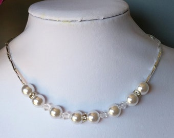Pure and simple Pearl and Swarovski crystal Necklace Set (Free Shipping to Canada & USA)