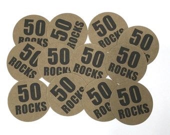 50th Birthday Stickers -50 ROCKS, Round 1 1/2 Inch Handmade Stickers, Kraft Brown or Your Choice of Color, Set of 12
