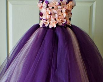 Flower girl dress Deep Purple and Golden Orange tutu dress, flower top, hydrangea top, toddler tutu dress