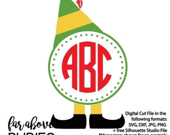 Elf Hat & Shoes Circle for Monogram (monogram NOT included) SVG Digital Cut File design for Silhouette or Cricut