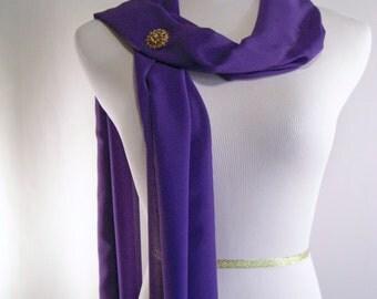 Bridal Scarf - Royal Purple Wedding Scarf -  Bridesmaid Scarf - Evening Wrap - Extra Long Royal Purple Silky Chiffon