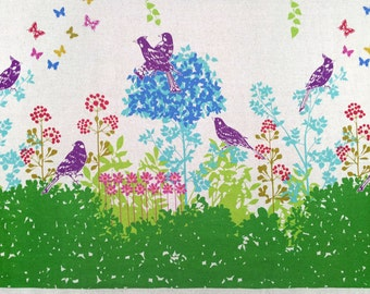 Echino by Etsuko Furuya - Border Cotton Linen Fabric - Perched Birds Wish EF700 Green, select a length