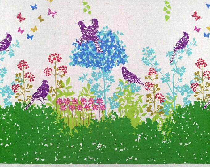 Echino by Etsuko Furuya - Border Cotton Linen Fabric - Perched Birds Wish EF700 Green, select a length