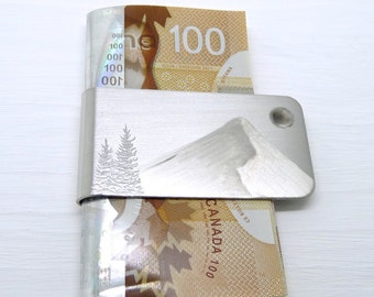 SILVER SLOPE Money Clip - Gifts for Men - WINTER- Cool Money Clip - Engraved Money Clip - Mens Accessories