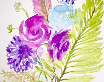 Flowers, Ferns and Feathers 3 original watercolor painting by Gretchen Kelly