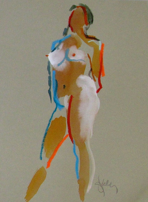Nude painting of One minute pose 93.1 Original painting by Gretchen Kelly