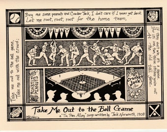 Take Me Out to the Ballgame: 6-pack of notecards w envelopes drawn and printed by LC DeVona from her song series' cards