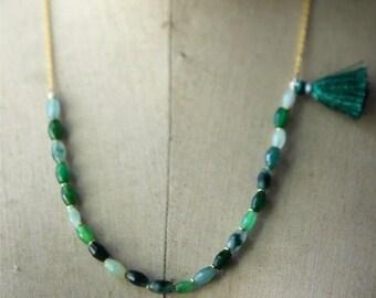 Emerald Green Aventurine Gemstone Tassel Necklace