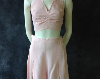 40's pink rayon halter top and shorts.