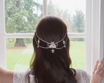 Bridal Hair Drape Crystal and Pearl | Periwinkle
