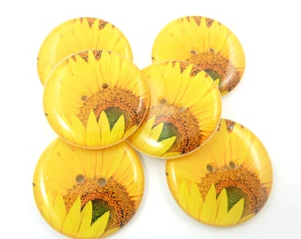 "6  Sunflower Buttons.  LARGE Yellow Sunflower Sewing Buttons. 1"" or 25 mm Round.  Handmade By Me. Washer and Dryer Safe."