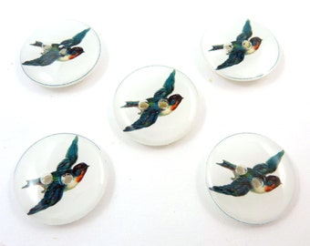 "5 Vintage Swallow Sewing Buttons. Handmade Sewing Buttons. Vintage Swallow Bird Buttons. 3/4"" or 20 mm."