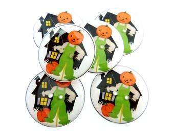 "LARGE Halloween buttons. Vintage Pumpkin Man Buttons.  6 Vintage Image sewing buttons. Handmade by Me.  Washer and Dryer Safe.  1"" or 25 mm."