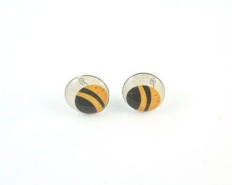 "Bumble Bee Earrings.  Lightweight Resin or Plastic Post Earrings or Accessories. 1/2"" or 13 mm Round."