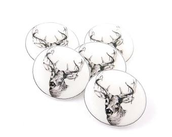 """5 Handmade Deer or Buck Buttons. SHANK buttons 3/4"""" or 20 mm."""