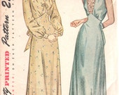 Simplicity 2269 1940s Misses V Neck Nightgown Negligee Pattern Sleeveless or Long Sleeve Simple  Womens Vintage Sewing Pattern Bust 40