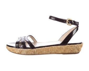 PRADA WOVEN patent leather flatform sandals, 8