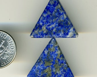 LAPIS LAZULI Afghanistan TEN (10) 20x20x20mm Triangle beads Natural Color