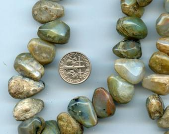 "BLUE OPAL in MATRIX nugget focal beads 16"" strand Thundereggs Owyhee Oregon"
