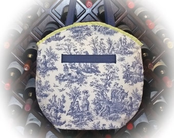 FREE Shipping USA Canada - J Castle Designs StayOver Bag - Blue White French Toile Waverly Designer Fabric - - (Ready to Ship)