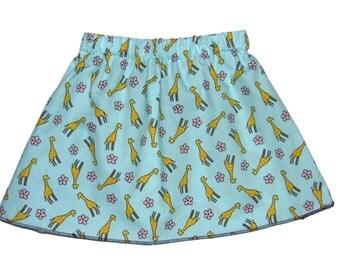 Kawaii - Giraffe - Blossom Skirt - Toddler Girl - Blue Skirt - Girls Skirts - Baby Skirt - Toddler Skirt - 3m to 8