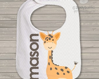 Personalized Bib - giraffe boys bib with name - great personalized shower gift  GB1
