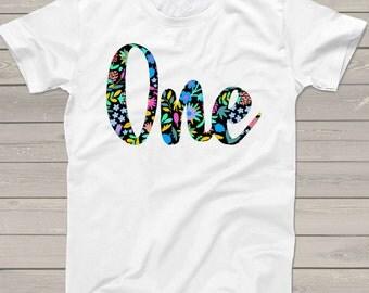 First birthday shirt flowery script one custom 1st birthday Tshirt  BNFPT