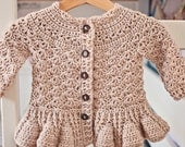 Instant download - Crochet Cardigan PATTERN (pdf file) - Soft Wool Peplum Cardigan (sizes baby up to 8 years)