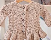 Crochet PATTERN - Soft Wool Peplum Cardigan (sizes baby up to 8 years)