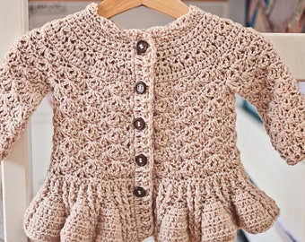 Crochet PATTERN - Soft Wool Peplum Cardigan (sizes baby up to 8 years)