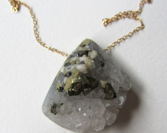 Pyrite and White Quartz Crystal Necklace with Gold Filled - Handmade in Seattle - Raw Geode Druzy Gemstone - Unique Jewelry Made in Seattle
