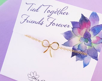 Sisters, Best friends, Friendship bracelet, Sorority sisters, cousins, dainty bow bracelet, graduation gift for her, otis b, bff gift