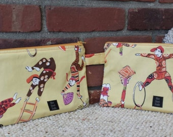Zipper bag pouch Asian fabric acrobats gymnasts circus aerialist contortionist mustard yellow coral purple brown