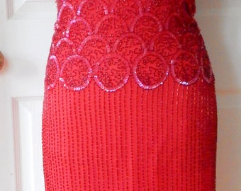 Gorgeous Vintage Oleg Cassini Ruby Red Black Tie Beaded Sequin Party Dress STUNNING