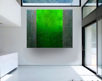 XL ORIGINAL Abstract painting modern acrylic art original fine art green earth contemporary style - title: Green Space ll by Carol Lee