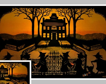 Haunted House, Halloween Greeting Card,   Halloween Card, Witches, Crows, Black Cats, graveyard