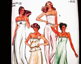 Womens Slip Sewing Pattern Misses Size 12 Woman Camisole Pattern Long Slip Pattern Full Slip Pattern Half Slip Pattern
