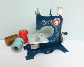 Little Mother Toy Sewing Machine, Blue with Girl Decal, 1940s, Hard to Find, Excellent Condition