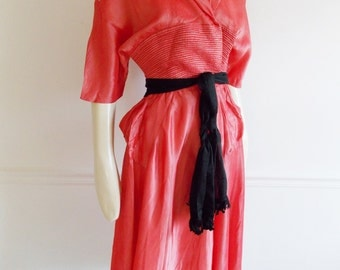 vintage 1950s pink wrap Taffeta dress / new look dress /Vintage 50s party Dress