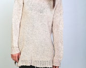Hand knit woman sweater oversized pullover sweater wheat top