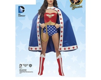 Misses' D.C. Comics Wonder Woman Costume Sewing Pattern - Simplicity 1024 Sewing Pattern US Sizes: 6-8-10-12-14 or 14-16-18-20-22